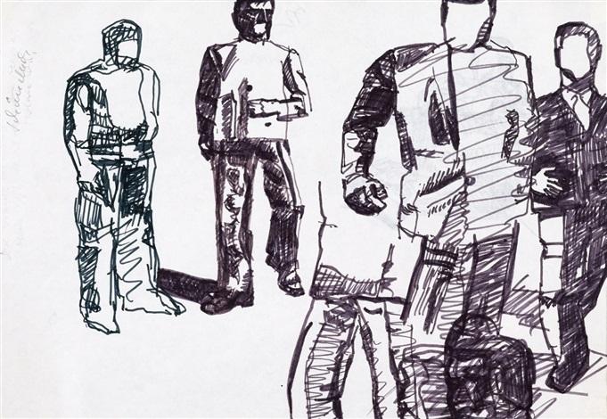 ohne titel dbl sided figure study from erste biennale berlin by eugen schönebeck