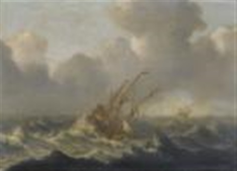 dutch warships in a rough sea by bonaventura peeters the younger