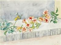 stilleben med blomsterstänglar by hilding linnqvist