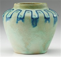 squat vase with blue and green decoration by arequipa pottery