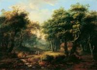 bewaldete landschaft mit einer hütte zwischen bäumen und figurenstaffage by jakob manskirch