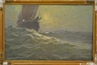 bateau de pêche en mer agitée by albert isidore de vos
