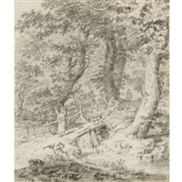 wooded landscape with peasants, and a dog on a bridge by pietersz (pieter) barbiers