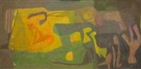 composition abstraite à dominantes bleu, vert et jaune by paul szasz