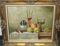 still life with fruit and wine on a table by gyula andreas bubárnik