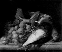 stilleben mit weintrauben und erlegten vöglen auf einer marmorplatte by jakob lehnen