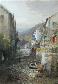 clovelly; and stepcote hill, exeter (pair) by alfred leyman