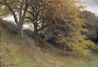 landschaftspartie mit ausladenden bäumen by edouard bernard debat-ponsan