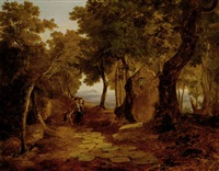 figures on path along the bay of naples by john (newbott) newbolt