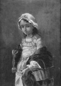 porträt eines mädchens mit bücherkorb by lucy jaquet