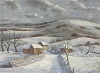 coombe hills, winter (3 works) by george bissill