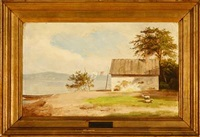 fisherman's house at a lake by heinrich buntzen