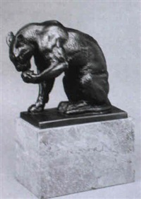 sich die pfote leckender panther by hermann geibel