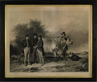 john charles, 3rd earl spencer and associates, with a prize bull, at wiseton (+ another; 2 works) by william henry simmons