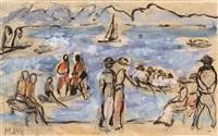 szene am ufer des lago maggiore by marianne werefkin
