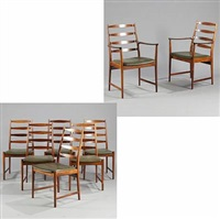 six high-backed chairs and two armchairs (model 113 og 113a) (8 works) by torbjørn afdal