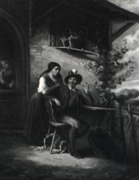 ein jäger mit seiner liebsten vor dem bauernhaus by elisabeth modell