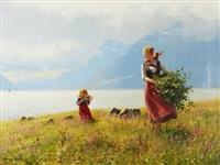 sommerdag - mor och dotter i fjordlandskap by hans dahl