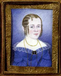 half-length portrait of hetta jane lowell in blue dress by william w. kennedy