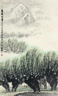 雪岭初春 by liang shixiong
