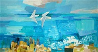 costal scenery with birds in flight by svend saabye