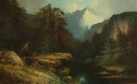 mountain landscape with river and forest in the foreground by henry arthur elkins