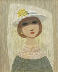 flicka med hatt by pelle aberg