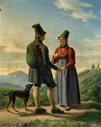 jäger und sennerin in den bergen by joseph anton rhomberg
