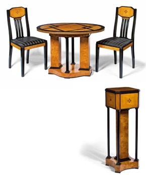 sockel ovaler tisch mit zwei stühlen aus einem musikzimmer by joseph maria olbrich