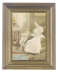 mother and child in an interior by emilie (caroline e.) mundt