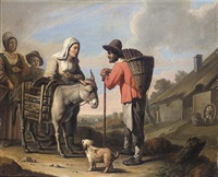 a peasant family with a donkey and a dog before a cottage by louis le nain