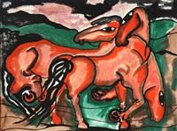 røde heste i landskab by vibeke alfelt