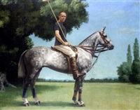 portrait of john wodehouse, later 3rd earl of kimberley, on his polo pony by kenneth hauff