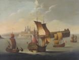 17th century warships and other vessels off a fortified castle by francis swaine