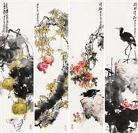 花鸟 镜心 四屏 设色纸本 (painted in 2014 flower and bird) by liang liansheng