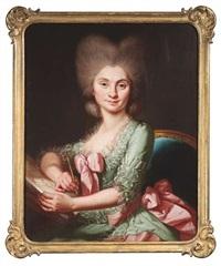 bildnis einer zeichnenden dame in einem lindgrünes rüschenkleid mit roséfarbener schleife am ausschnitt by christian friedrich reinhold lisiewski