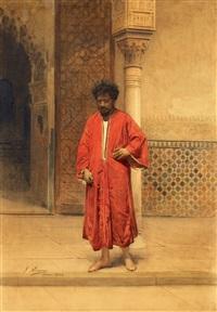 ein orientale vor dem eingang der alhambra by gustavo simoni