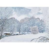 winterlandschaft bei klosters by plinio colombi