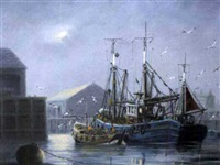 calm, fishing vessels in a harbor including trawler by jack rigg