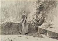 donna con la sciarpa in terrazza con cesto di fiori by louis emile adan