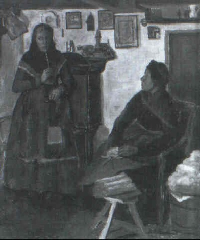 interior med bondekone og pige by hans andreasen hessellund