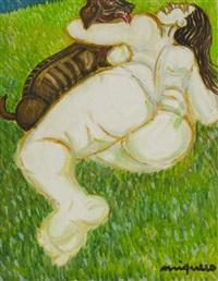 donna con cane by giuseppe migneco