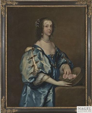 bildnis einer vornehmen dame in blauem kleid mit einem blumenkorb als kniestück sie steht an einer steinernen säule auf der sie den korb abgestellt hat by sir anthony van dyck