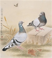 双鸽 (two pigeons) by deng bai