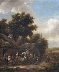 rastende reiter und landleute vor einer schänke by barend gael