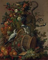stilleben mit vögeln, blumen, früchten und schmetterling by jacobus vonck