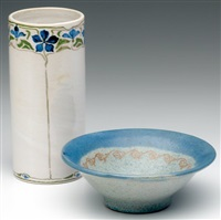 flaring bowl (+ cylidrical vase; 2 works) by arequipa pottery