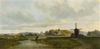 weite holländische landschaft, im hintergrund eine stadtsilhouette (den haag?) by frans breuhaus de groot