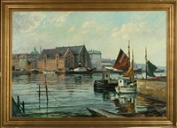 entrance to copenhagen harbor with the marble church in the background by einar gross