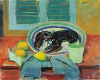 still life with lobster on a dish by knud ove hilkier
